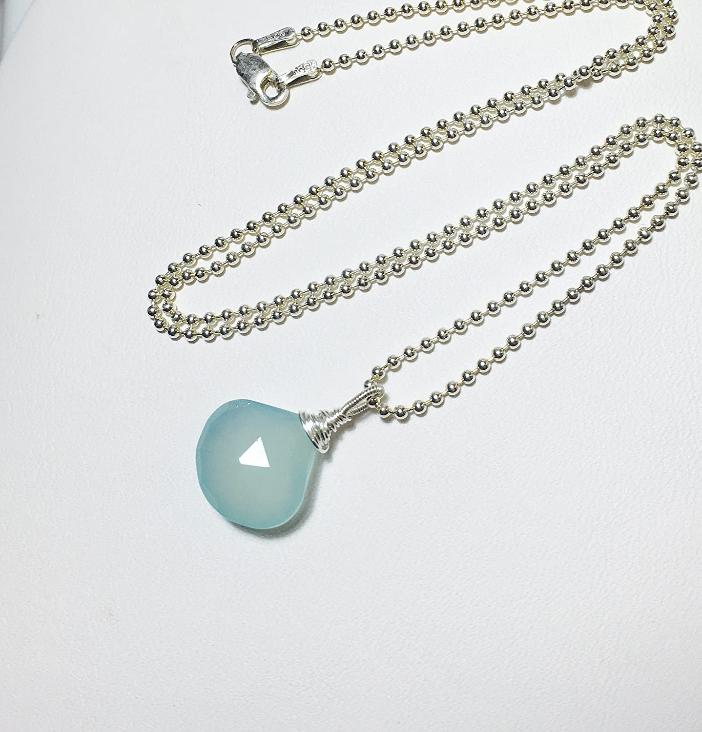 Silver necklace with Smooth aqua Chalcedontropfen