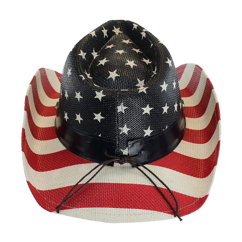 bd648a833e284 USA Shapeable Brim Cowboy Hat w  Vegan Leather Stars   Stripes Band ...