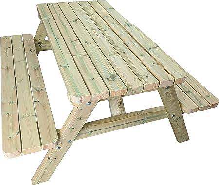 MG Timber Products Mesa de picnic de madera resistente de 1,52 m ...