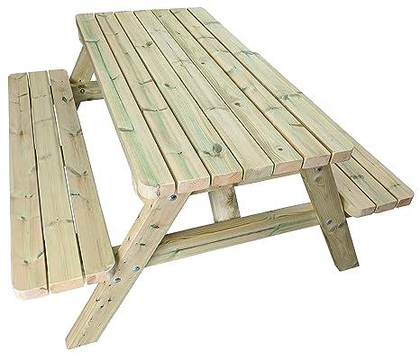 MG Timber Products Heavy Duty 5 ft de Madera Mesa de Picnic ...