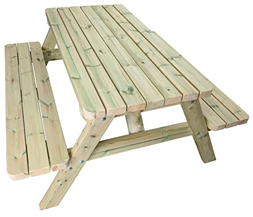 MG Timber Products Heavy Duty 5 ft de Madera Mesa de Picnic ...