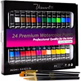 Watercolor Paint Set With 24 Premium Watercolor Paint Tubes And 5 Brushes - The Perfect Painting Kit for Adults, Beginners, Students Or Professional Artists
