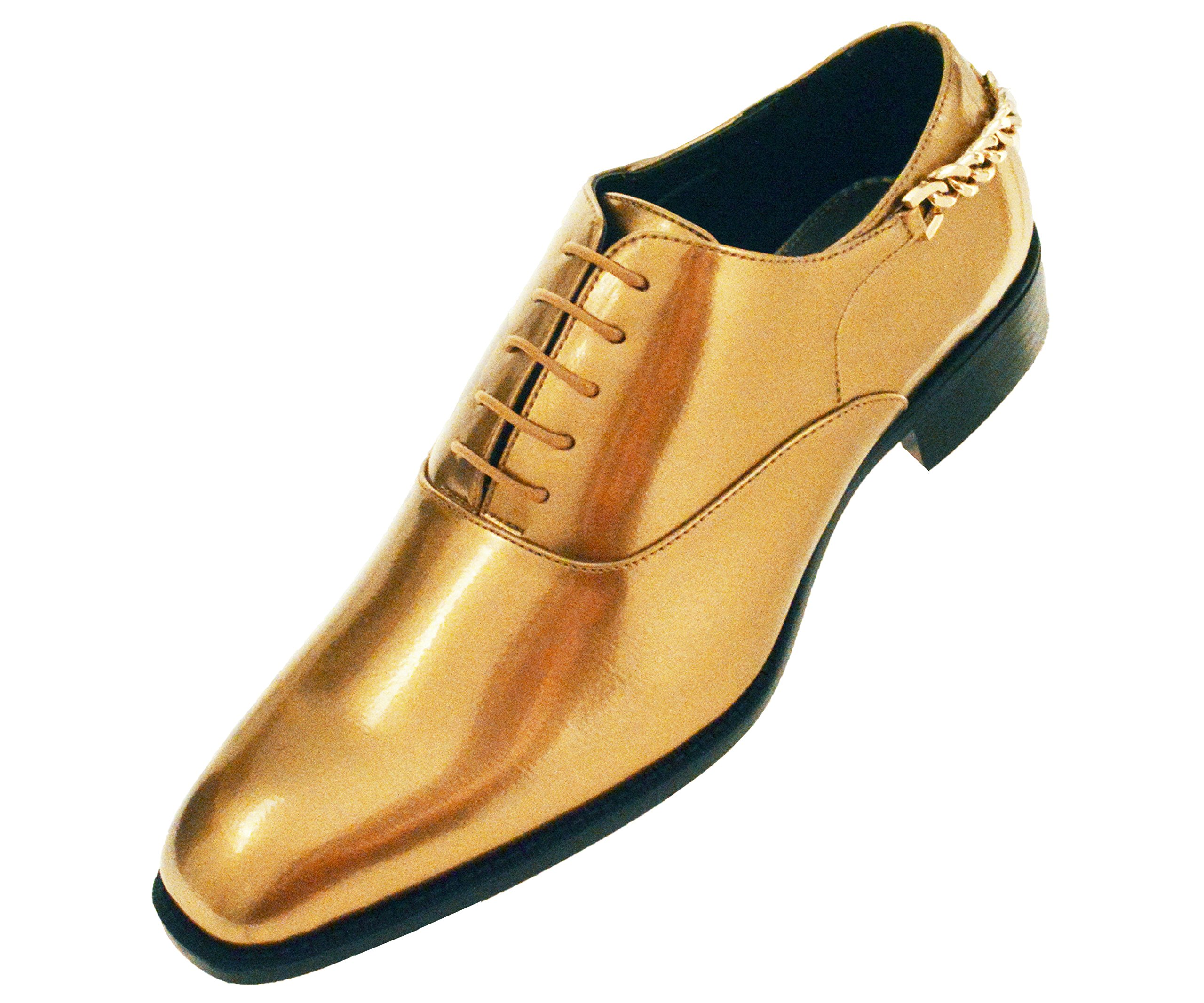 Bolano Mens Smooth Shiny Patent Plain Toe Oxford Dress Shoe with Gold Heel Chain
