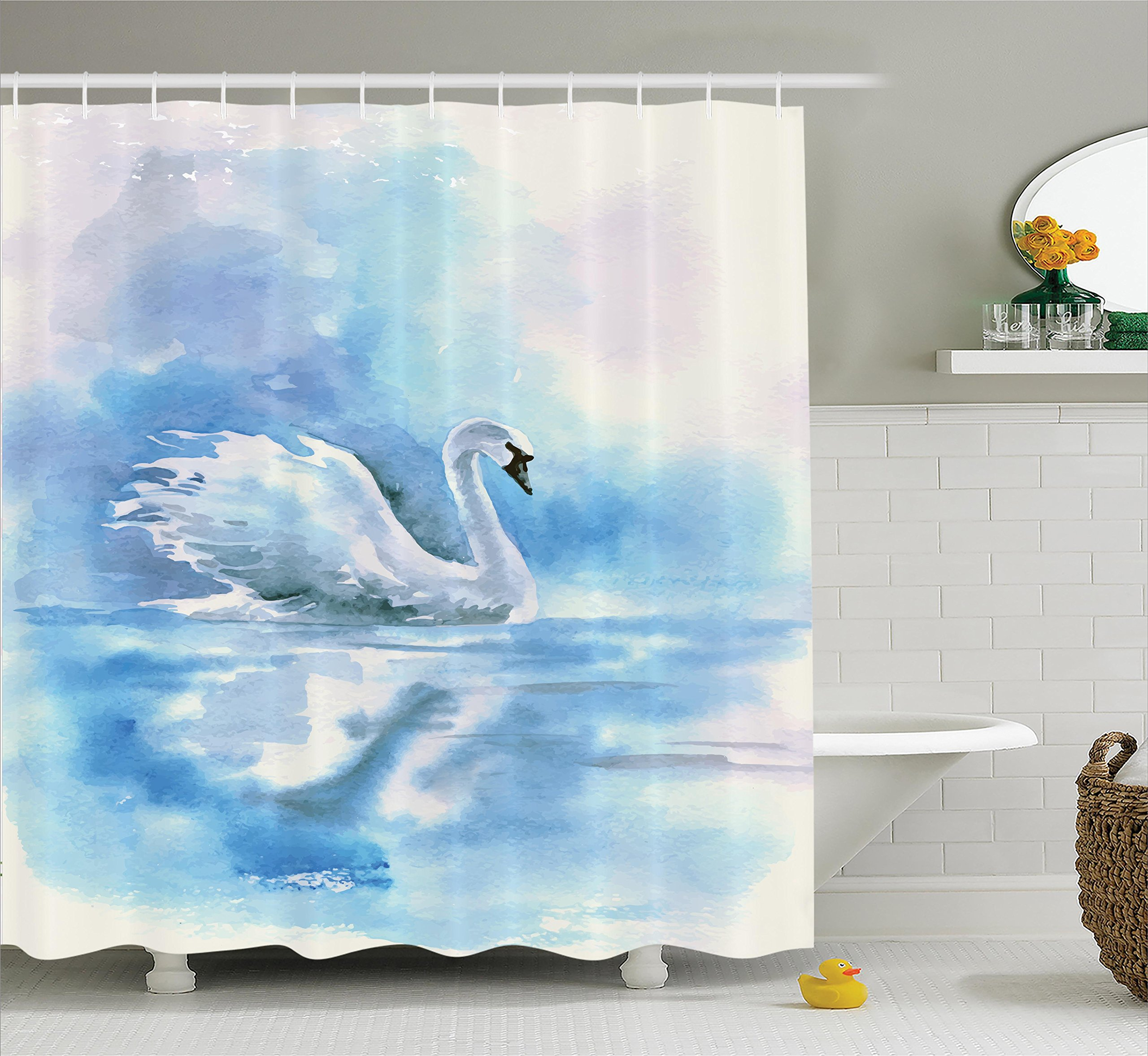 Ambesonne Animal Decor Shower Curtain Set, Watercolor Drawing Picture Of A Swan In The River Hazy Color Aqua Concept Picture Print, Bathroom Accessories, 69W X 70L Inches, Blue White