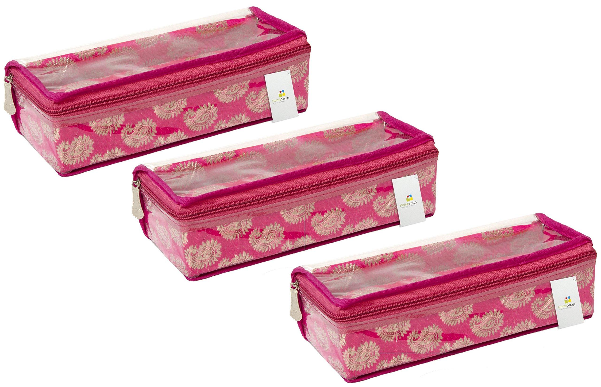HomeStrap Designer Single Rod Brocade Bangle Box with Transparent Top - Pink - Pack of 3