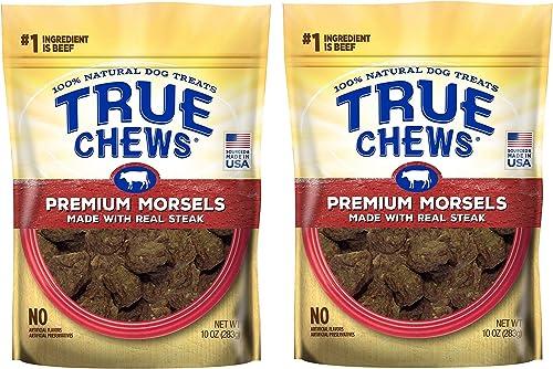 True Chews Dog Treats Premium Steak Jerky Morsels 10 oz Made in USA 2 Packs