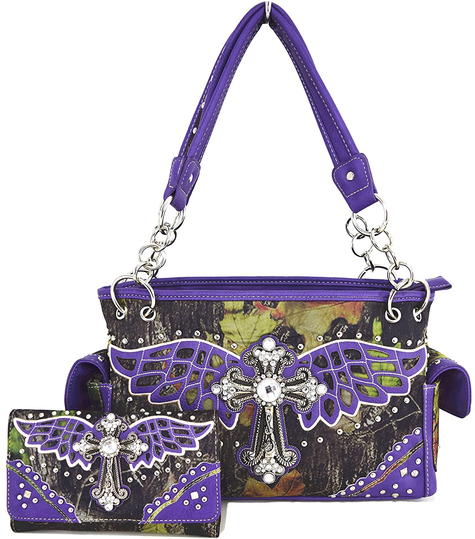 Western Cowgirl Cross Wings Camouflage Cow Purse Shoulder Bag Messenger Handbag Wallet Set Purple
