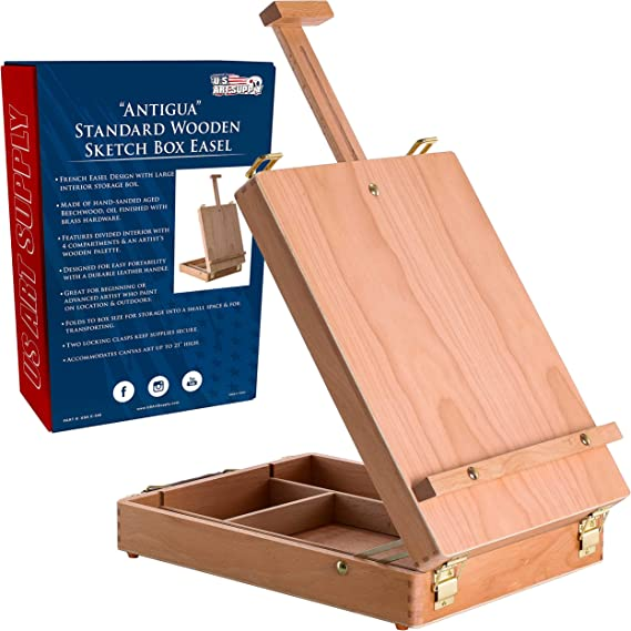 U S Art Supply Antigua Adjustable Wood Table Sketchbox Easel Premium Beechwood Portable Wooden Artist Desktop Storage Case Store Art Paint Markers Sketch Pad Box For Drawing Painting Arts Crafts Sewi