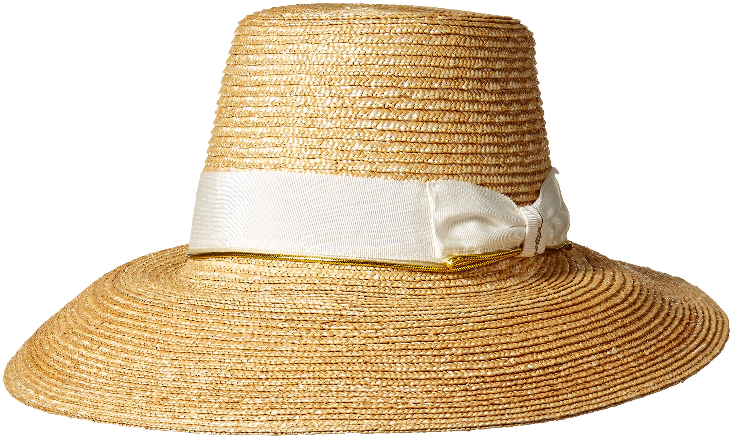 Gottex Women's Layla Fine Milan Sunhat Packable, Adjustable and UPF Rated, Natural/White, One Size