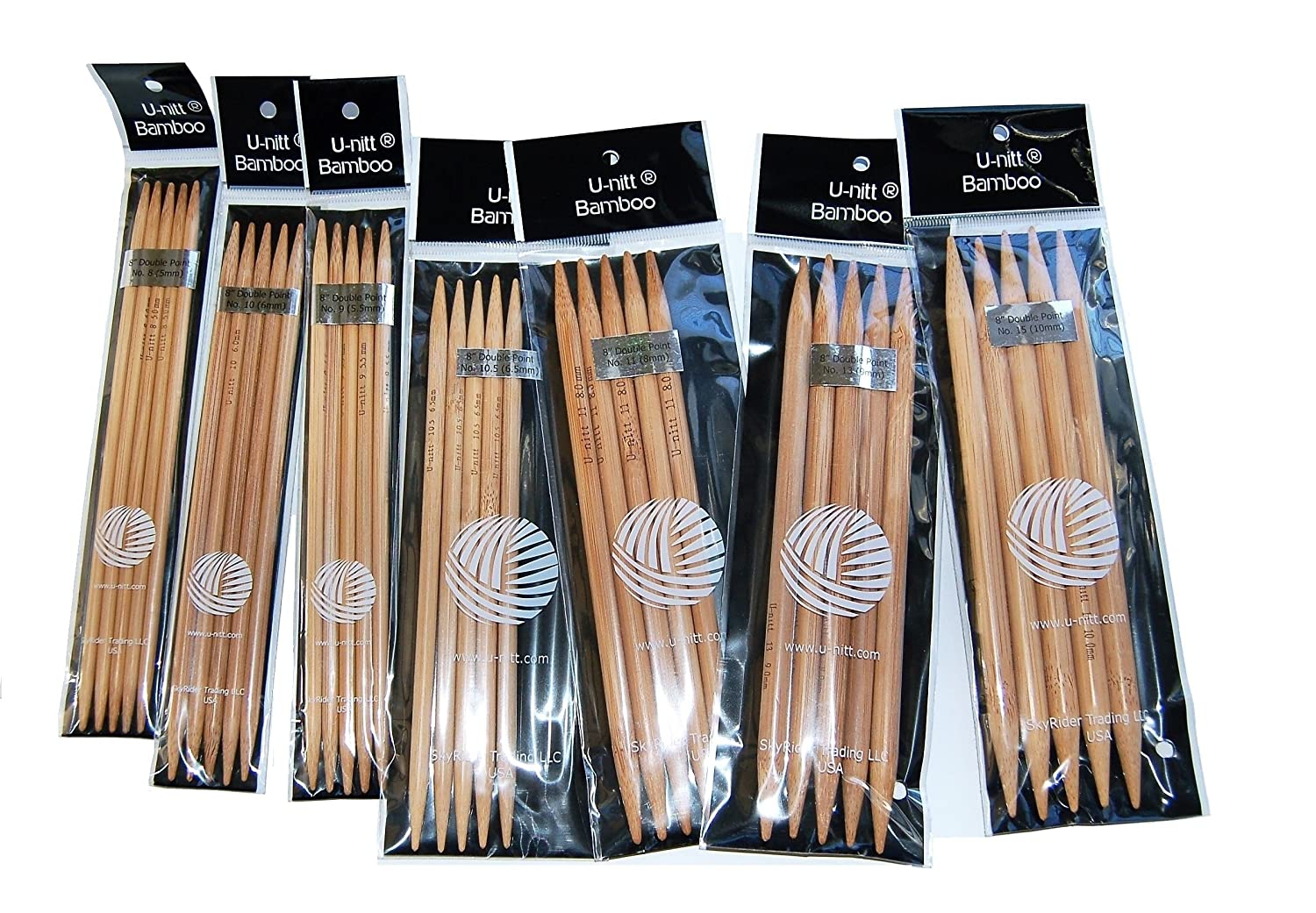 U-nitt Bamboo Knitting Needles Double Point 8 Sz 8, 9, 10, 10.5, 11, 13, 15 : 7-size patina by U-nitt B001QK742U