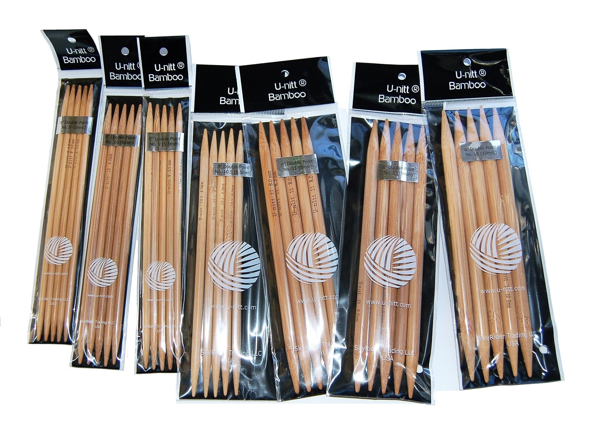 U-nitt Bamboo Knitting Needles Double Point 8'' inch Sz 8, 9, 10, 10.5, 11, 13, 15 : 7-Size Patina