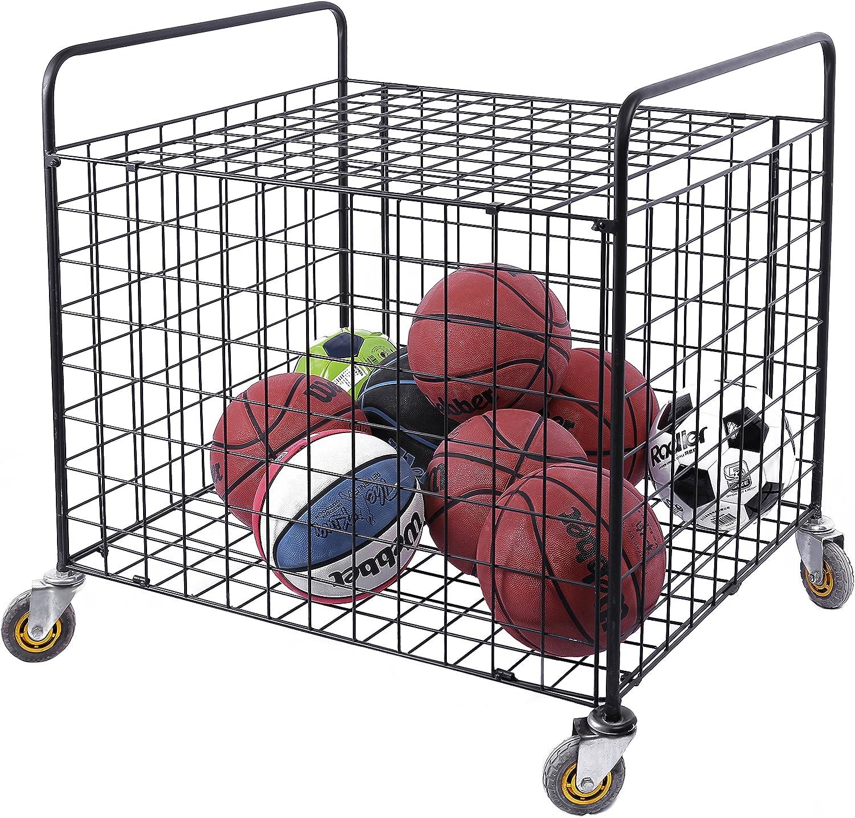 MyGift Black Metal Rolling Multi Sports Ball Storage Hopper & Basketball, Football, Soccer Equipment Cart: Sports & Outdoors