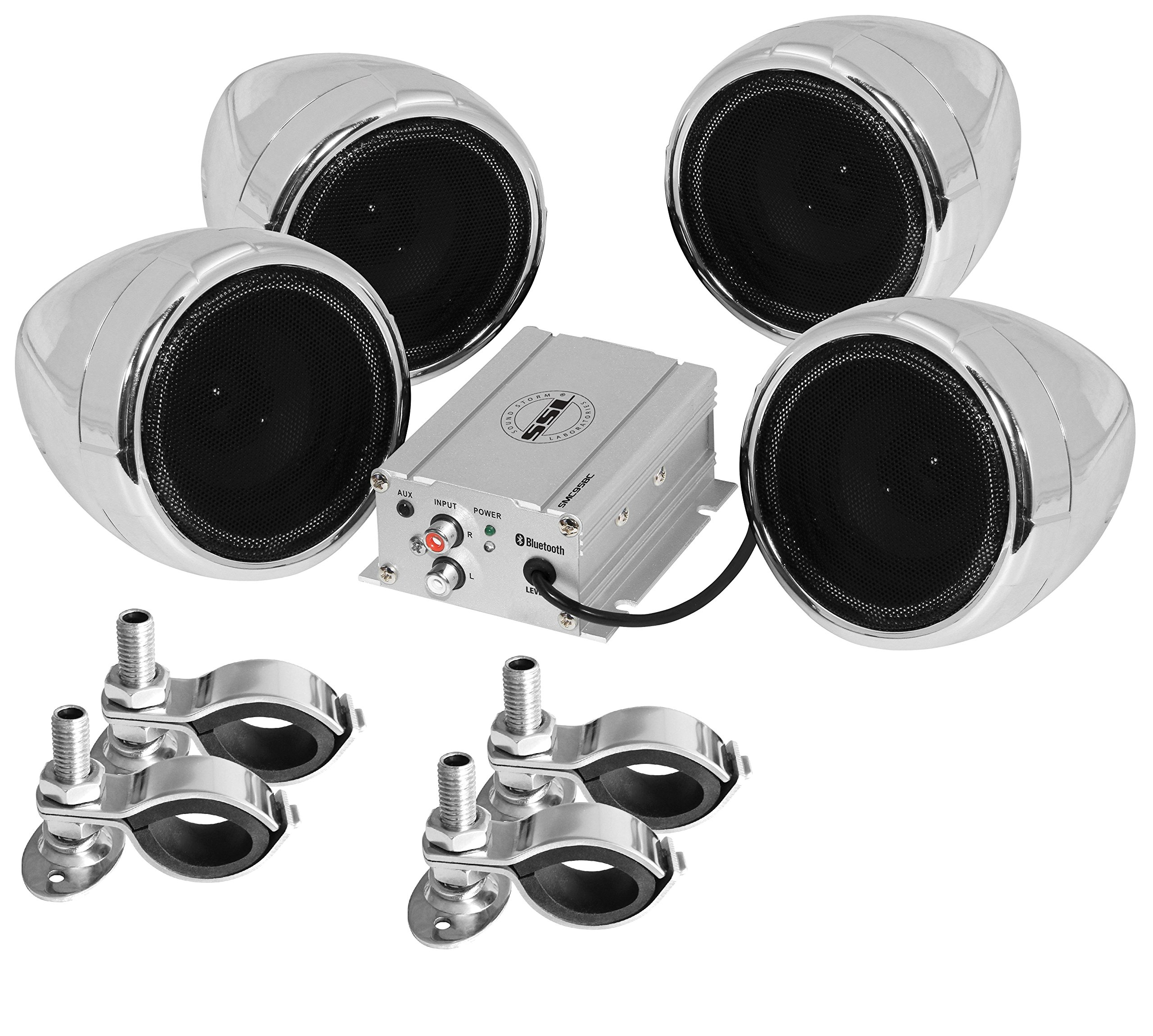 Sound Storm SMC95BC Sound System, Weatherproof, Bluetooth Amplifier, 3 Inch Speakers, Inline Volume Control, Ideal for Motorcycles/ATV and 12 Volt Applications