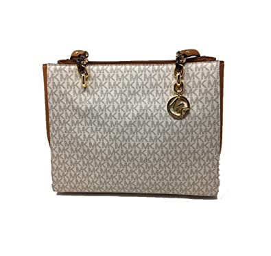 1423779bd4d28f Amazon.com: Michael Kors Sofia Large Signature MK Shoulder Tote Bag in  Vanilla/Acorn: Shoes