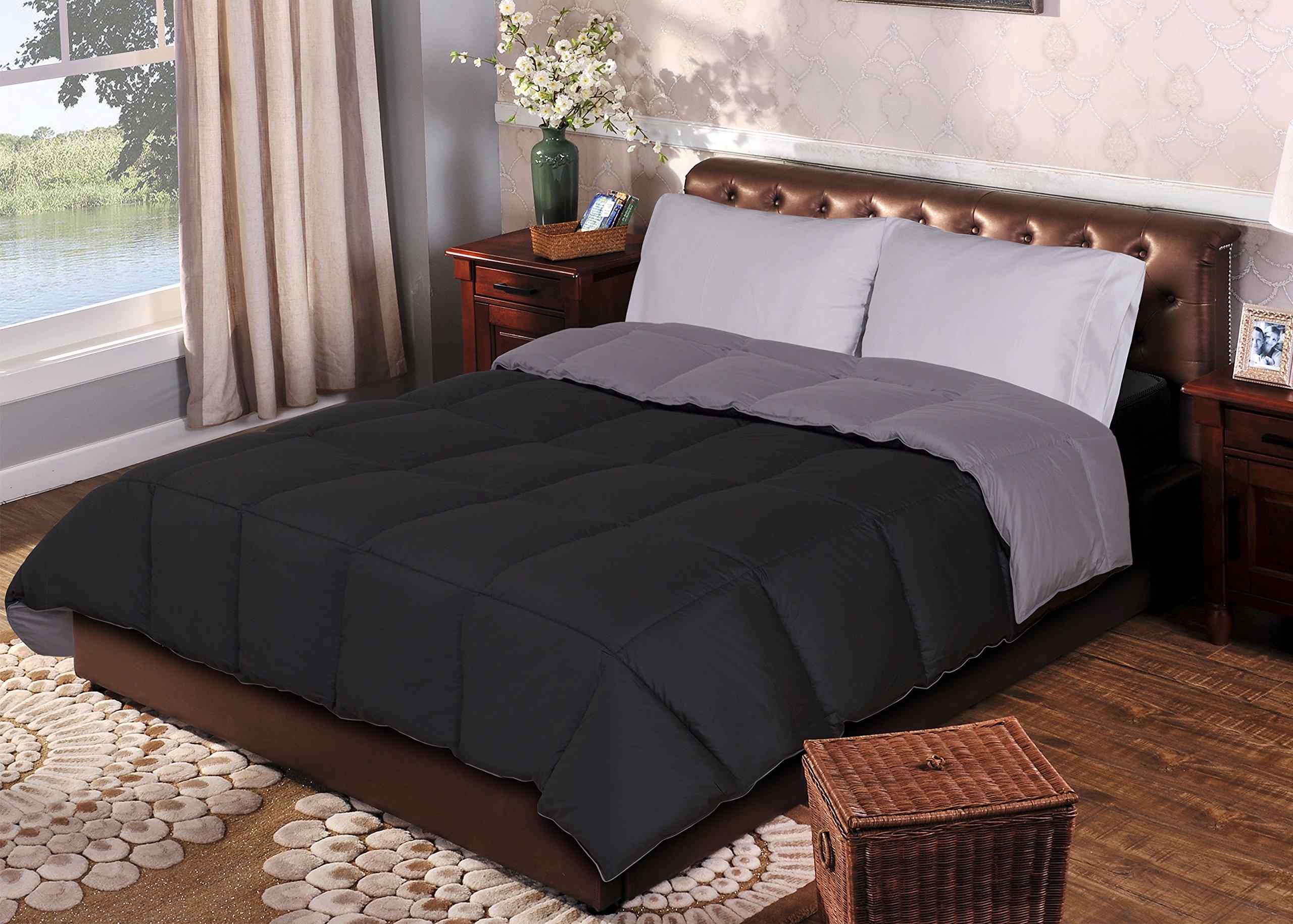Superior Reversible Down Alternative Comforter, Medium Weight Bedding for All Season Use, Fluffy, Warm, Soft & Hypoallergenic - Full/Queen Size, Black & Grey
