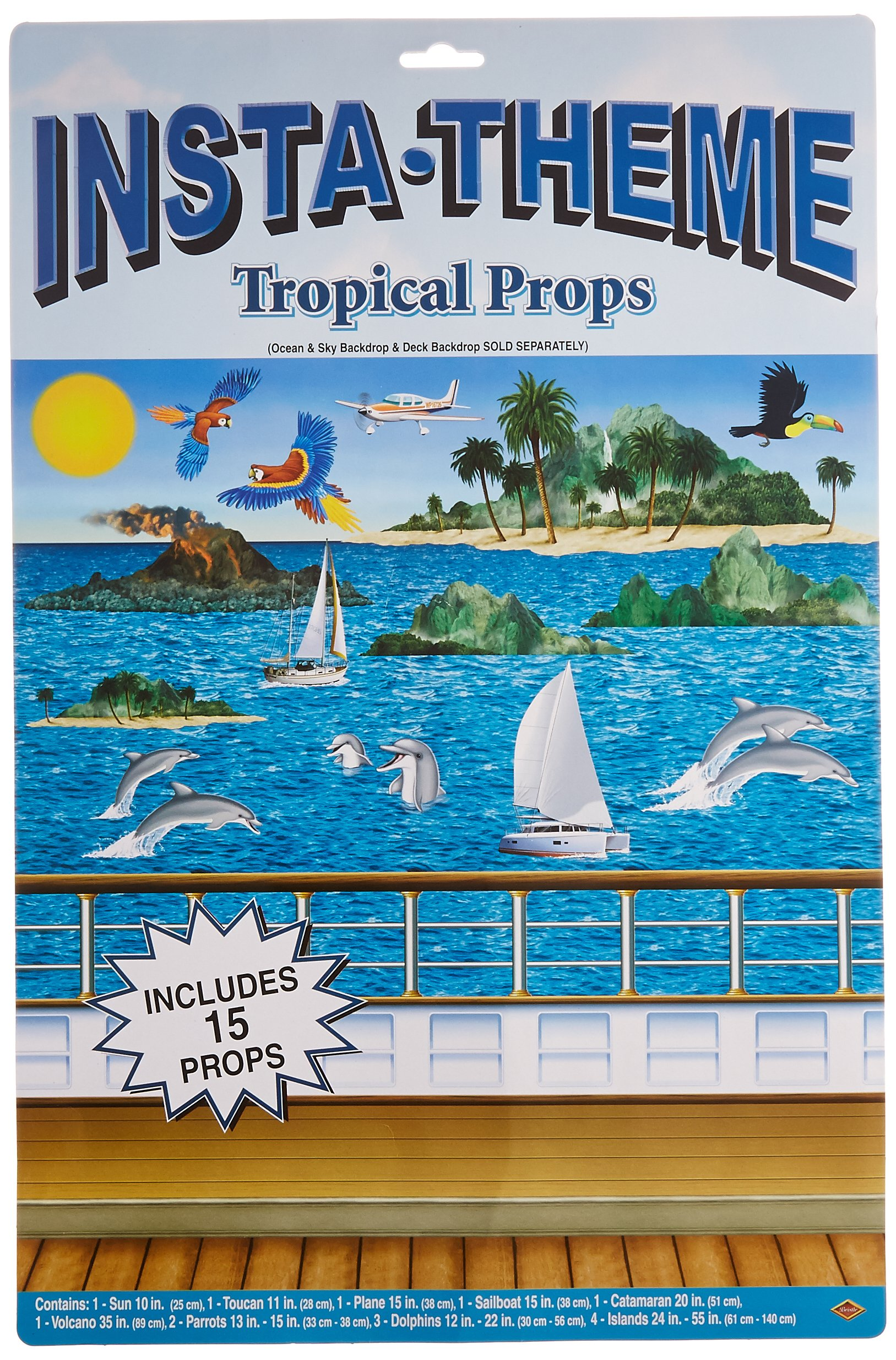 Beistle 52033 Printed Tropical Cruise Props, 10'' to 4' 7'', 15 Pieces In Package