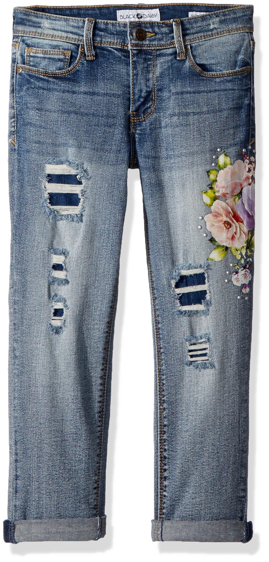 Black Daisy Big Girls' Tween Best Friend Relaxed Skinny Jean, Audition Destruction/Floral Print, 14