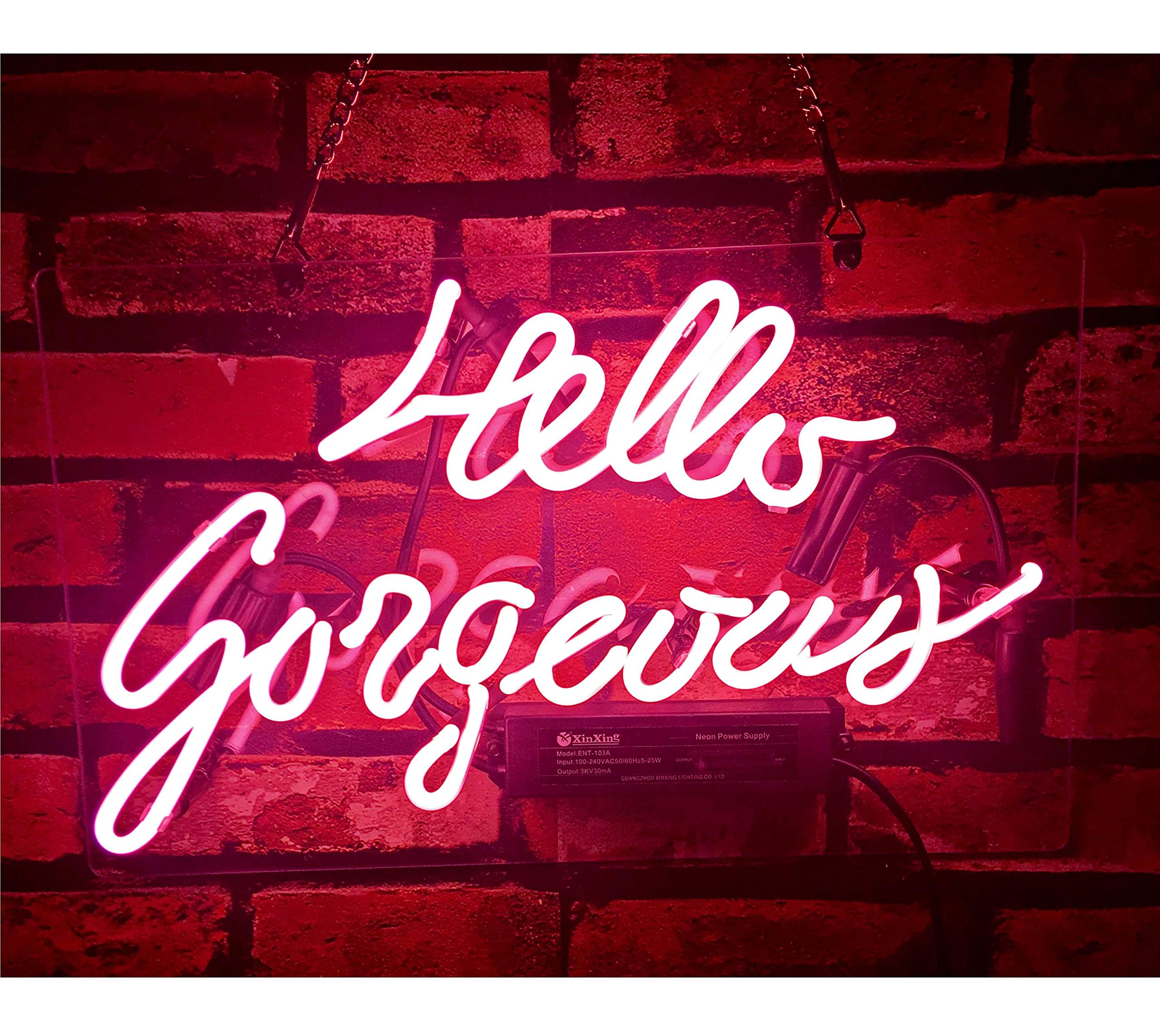 Gritcol Pink Hello Gorgeous Neon Sign Man Cave Room Decor Night Light Love Gifts Real Glass Hand Made 14''x9''