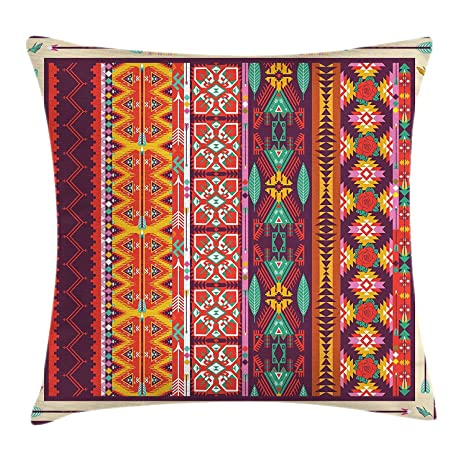Kinhevao Cojín Azteca, patrón de Colores con pájaros, Flores ...