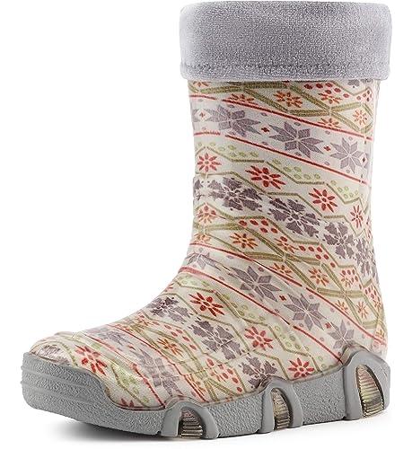 Ladeheid Botas de Agua Zapatos de Seguridad Calzado Unisex Niño WOD 18(Blanco Star,