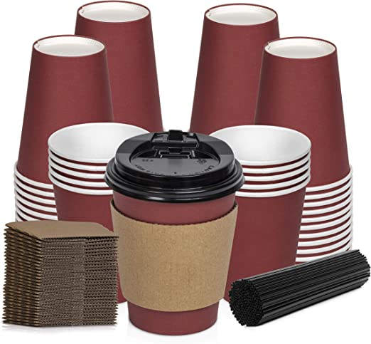 Red Paper Coffee Cups Disposable Insulated Hot Togo Cups with Lids 12 oz