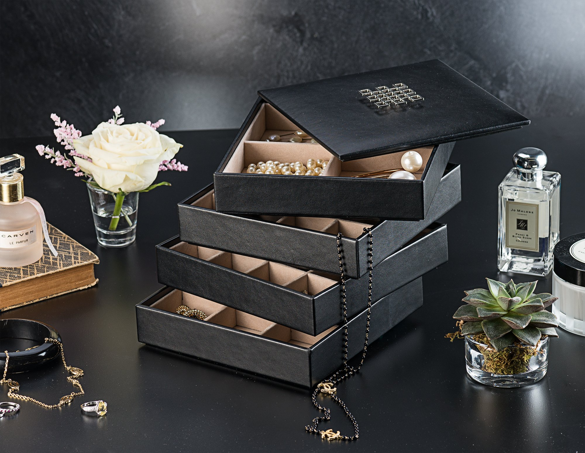 25500a93e Glenor Co Earring Organizer Tray – 4 Stackable Trays Lid -45 Slot Classic  Jewelry ...