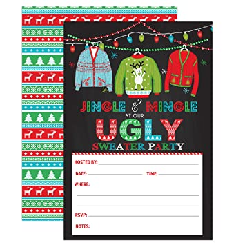 Ugly Christmas Sweater Party Invite.Amazon Com Ugly Sweater Christmas Party Invitations