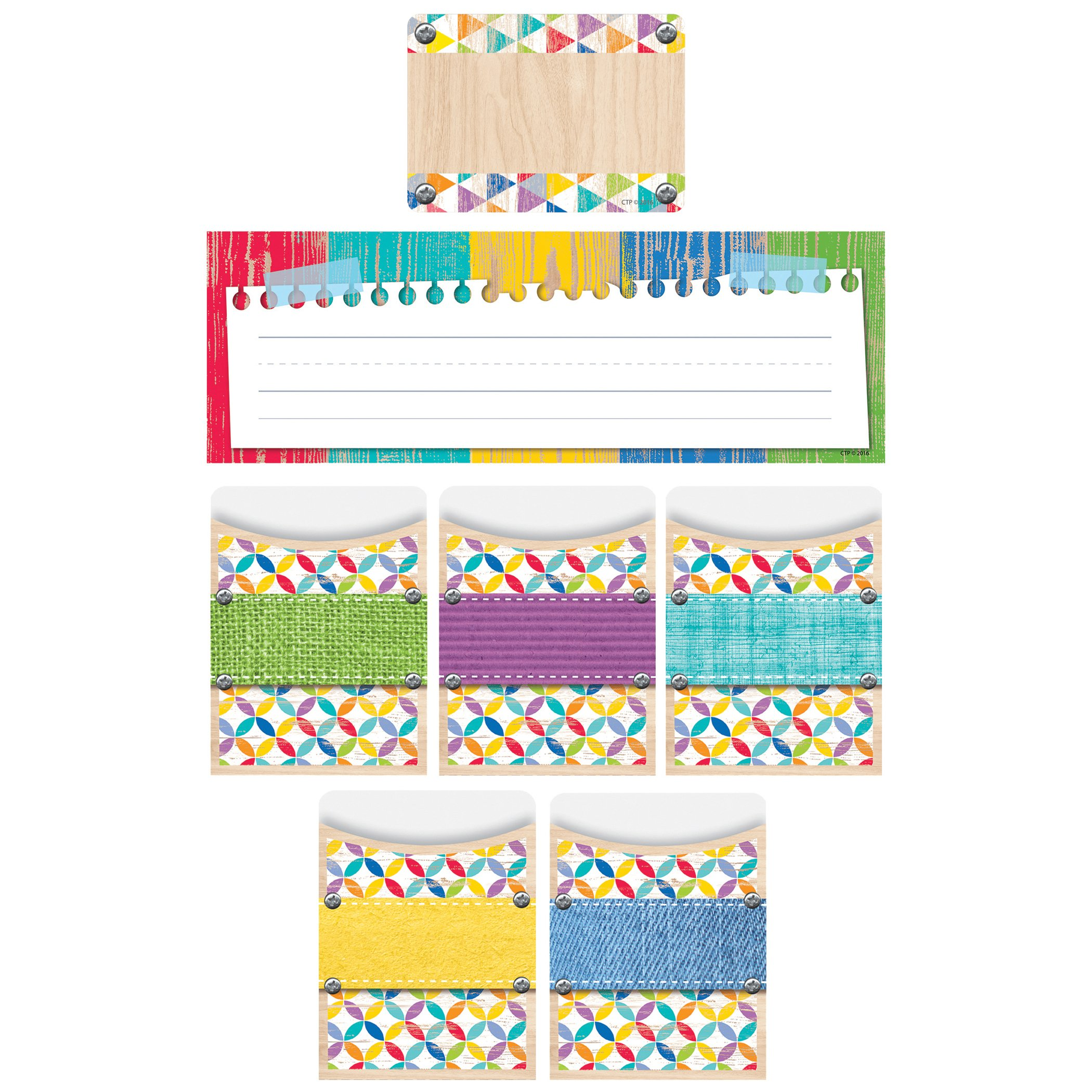 Creative Teaching Press CTP8941 Upcycle Style Name Plate/Label/Pockets Combo Set (Pack of 107)