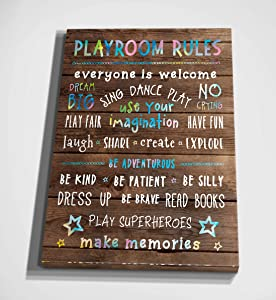 Playroom Rules Gallery Wrapped Canvas Wall Art (WC03-40038-R)