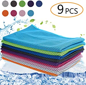 Augsun 9 Pack Snap Cooling Towels,Fast Drying Super Absorbent Sports Towel for Neck, Fitness,Yoga