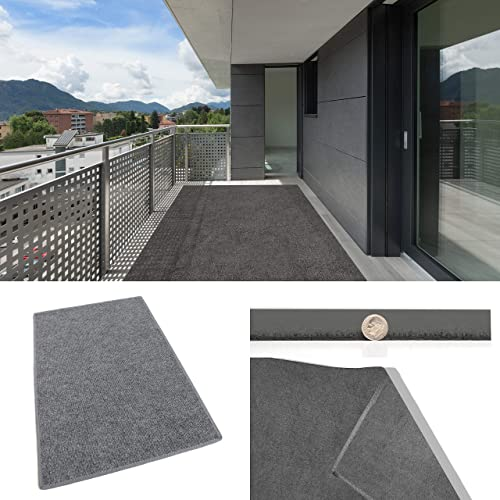 3 X5 Gray Multi Indoor-Outdoor 3 16 Thick Olefin Area Rug with Latex Backing