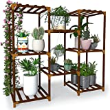 """New England Stories Indoor Plant Stand for Multiple Plant, Outdoor 30"""" Wood Stand Shelf, 3 Tier 8 Potted Plant Holder Rack fo"""