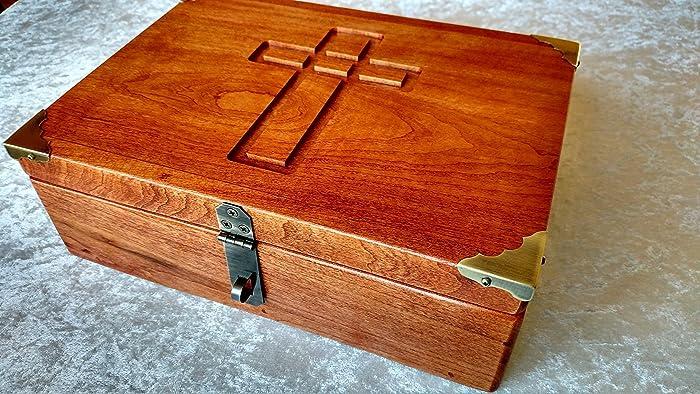 Amazon Com Cherry Bible Box Book Box Or Wooden Keepsake Box Handmade