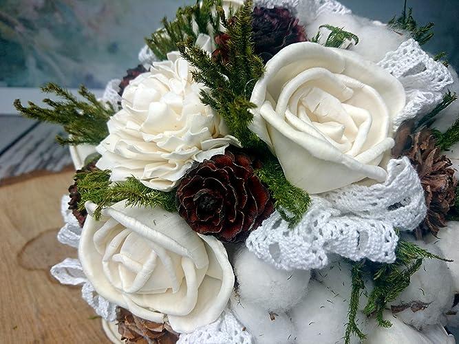 Amazon.com: Raw Cotton Bolls Cedar Rose Sola Flowers Bouquet: Handmade