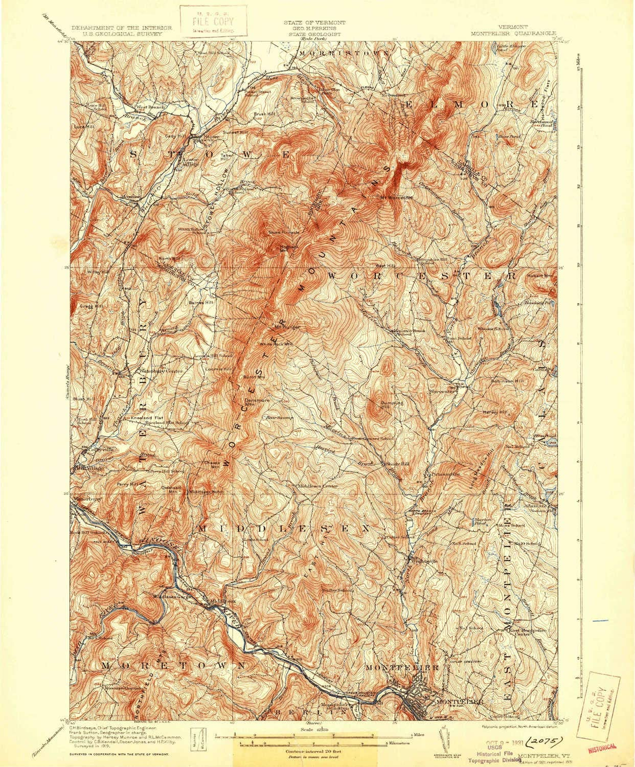 YellowMaps Montpelier VT topo map, 1:62500 Scale, 15 X 15 Minute, Historical, 1921, Updated 1931, 19.8 x 16.4 in