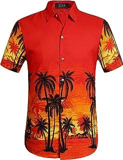 SSLR Chemise Hawaienne Homme Casual Manche Courte Imprimé Vacance