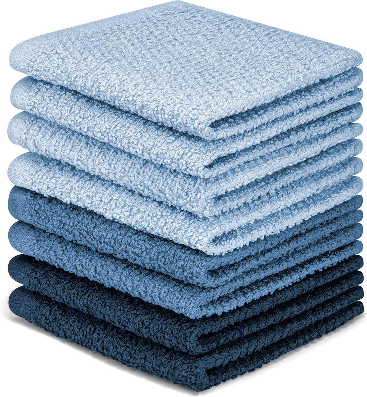DecorRack 8 Pack Kitchen Dish Towels, 100% Cotton Wash Cloth, Luxurious Soft, 12x12 inch Ultra Absorbent, Machine Washable Washcloths, Blue (8 Pack)