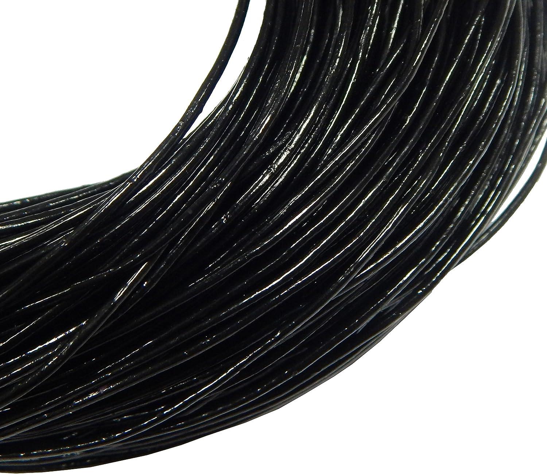 Perlin 10 Metri Cinturino in Pelle Nero 3 mm Cordino in Pelle Bovina Vera Pelle Filo Rotondo bricolage Gioielli Filo camoscio C33 X 2