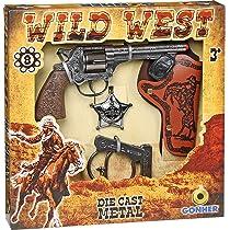 GONHER 37-157 - Pistola 8 Tiros Cartuchera Esposas Y Estrella Caja 28X28: Amazon.es: Juguetes y juegos
