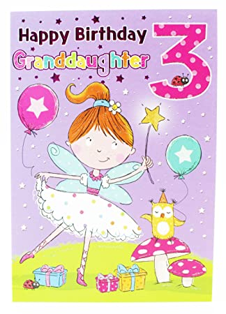 Happy 3rd Birthday Greeting Card Granddaughter Kids Milestone Age Girls Glitter
