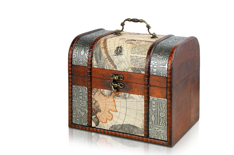 Brynnberg Scrigno del tesoro vintage Bauletto stile antico per accessori gioielli oggetti di valore, Cassaforte in legno, Idea regalo decorativa 21x17x18cm
