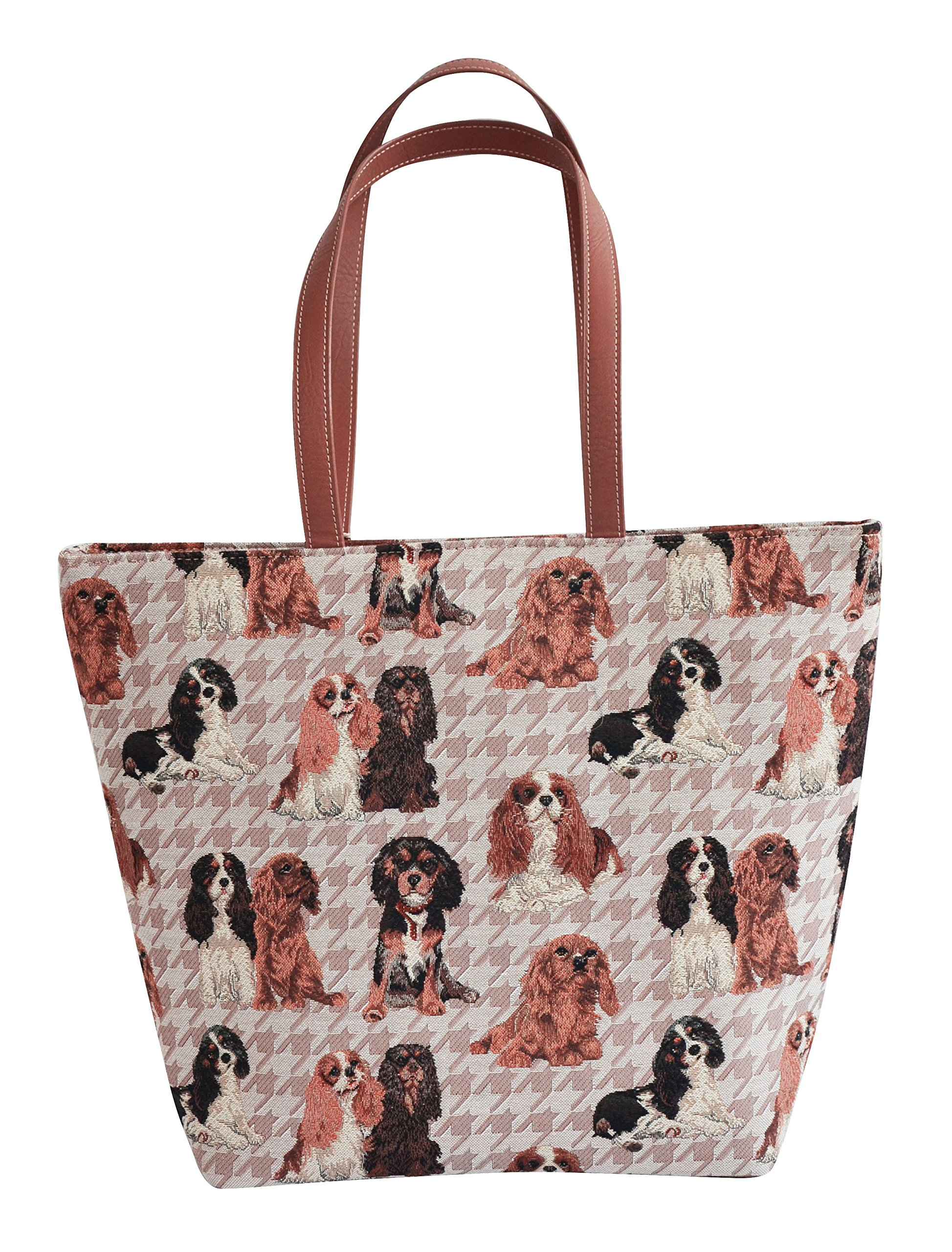 Signare Women's Tapestry Shoulder Tote Handbag, Travel Handbags for Shopper, Daily Purse Tote Bag with Cavalier King Charles Spaniel Dog (SHOU-KGCS)