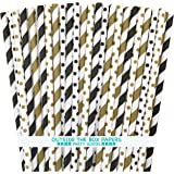 Outside the Box Papers Black and Gold Stripe and Polka Dot Paper Straws 7.75 Inches 100 Pack Black, Gold, White
