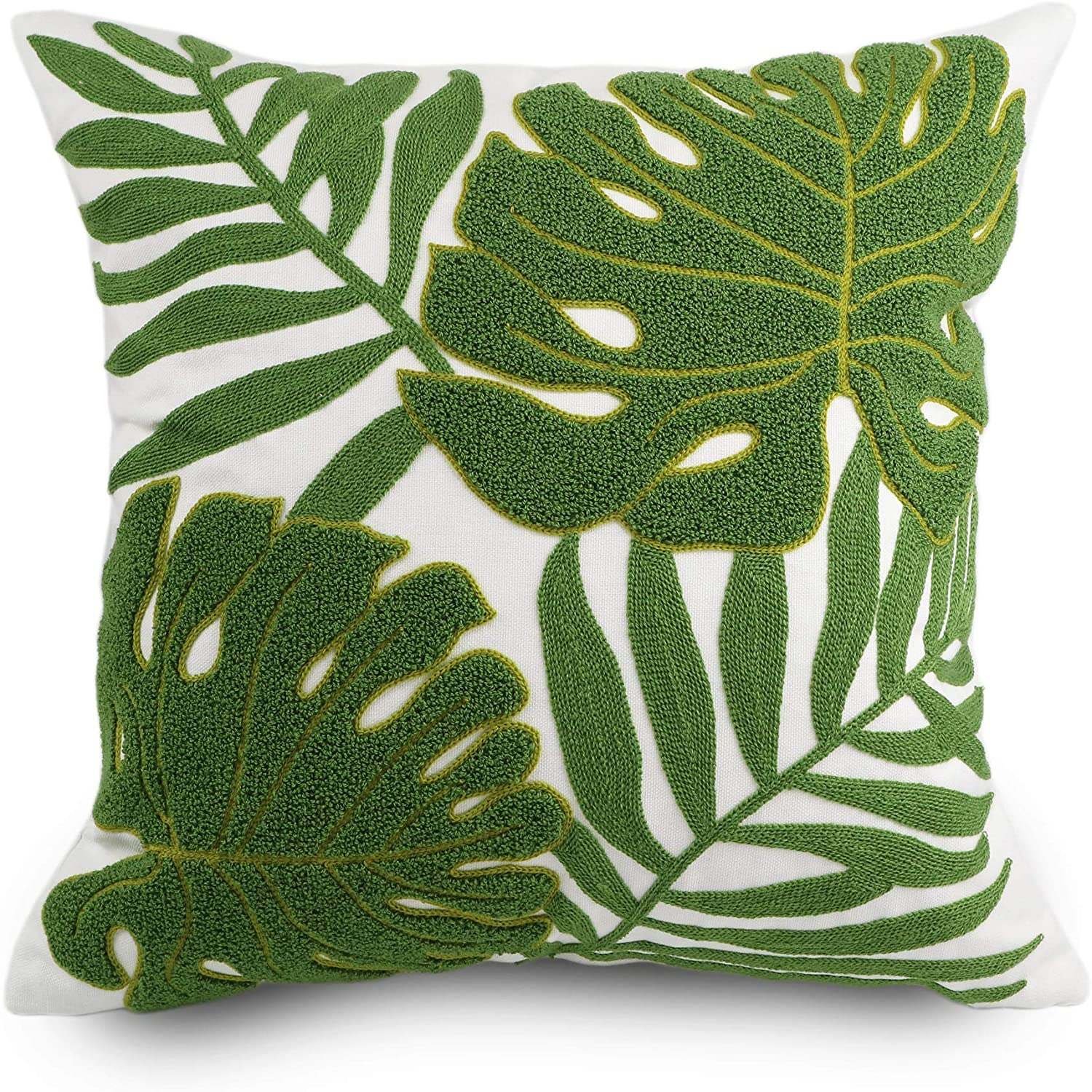 Amazon Com Hodeco Decorative Throw Pillow Covers 18x18 Tropical Green Leaves Embroidery Floor Pillow Cover For Couch 100 Cotton Cushion Cover Pillow Case Plant Monstera Leaf Loop Embroidered 45x45cm 1 Piece Home Dark tropical painted artistic seamless pattern on black. hodeco decorative throw pillow covers 18x18 tropical green leaves embroidery floor pillow cover for couch 100 cotton cushion cover pillow case plant