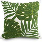 Hodeco Decorative Throw Pillow Covers Green Leaves Embroidery Floor Pillow Cover for Couch 100% Cotton Cushion Cover…