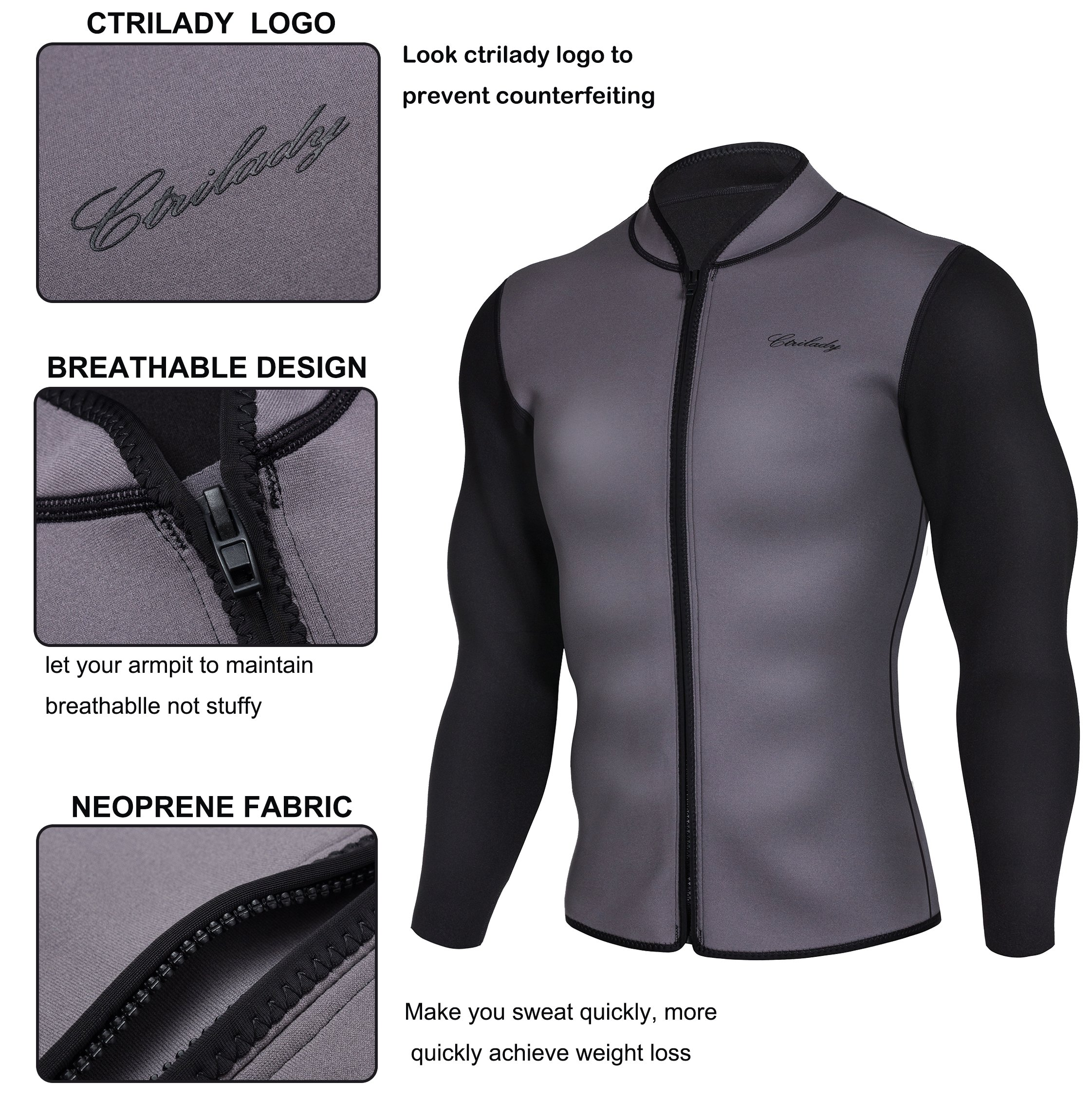 CtriLady Mens Best Neoprene Wetsuit Jacket Front Zipper Long Sleeves Workout Tank Top for Swimming Snorkeling Surfing