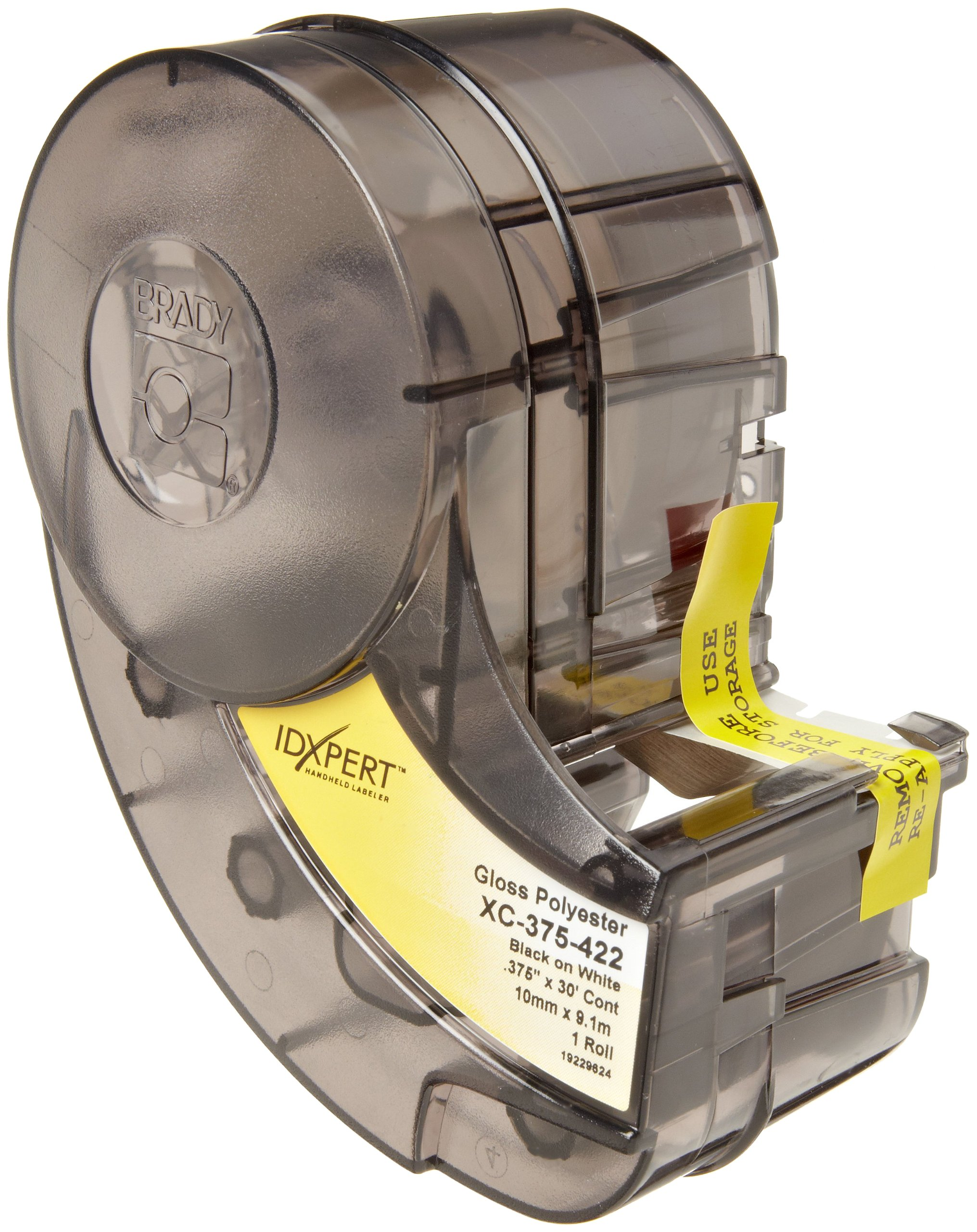 Brady XC-375-422 IDXPERT 0.375'' Height, 19'' Width, B-422 Permanent Polyester, Black On White Color Label