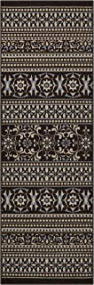 product image for Maples Rugs Zoe Runner Rug Non Slip Hallway Entry Carpet [Made in USA], 2 x 6, Brown