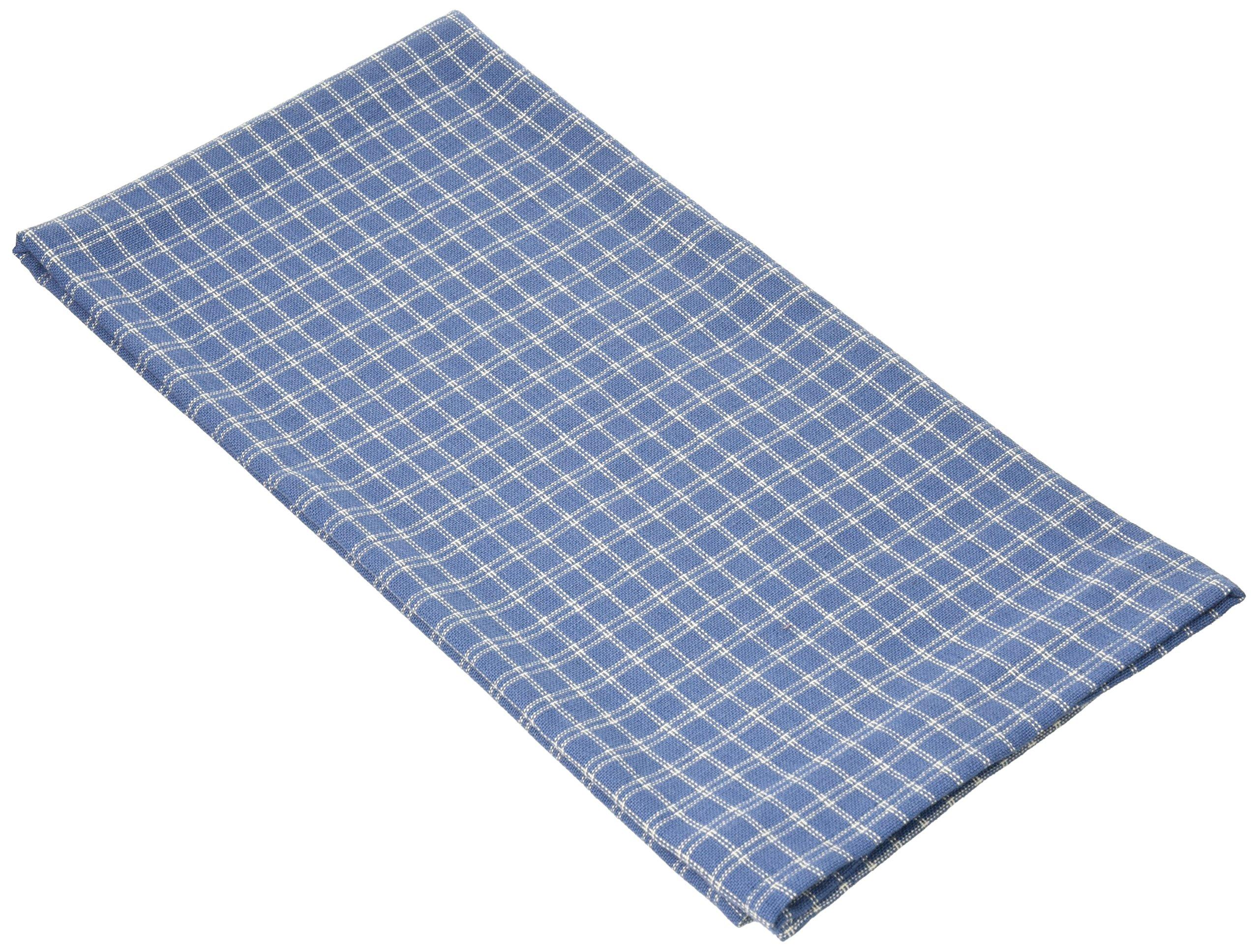 Cream Windowpane Plain Weave Towel-Provencal Blue