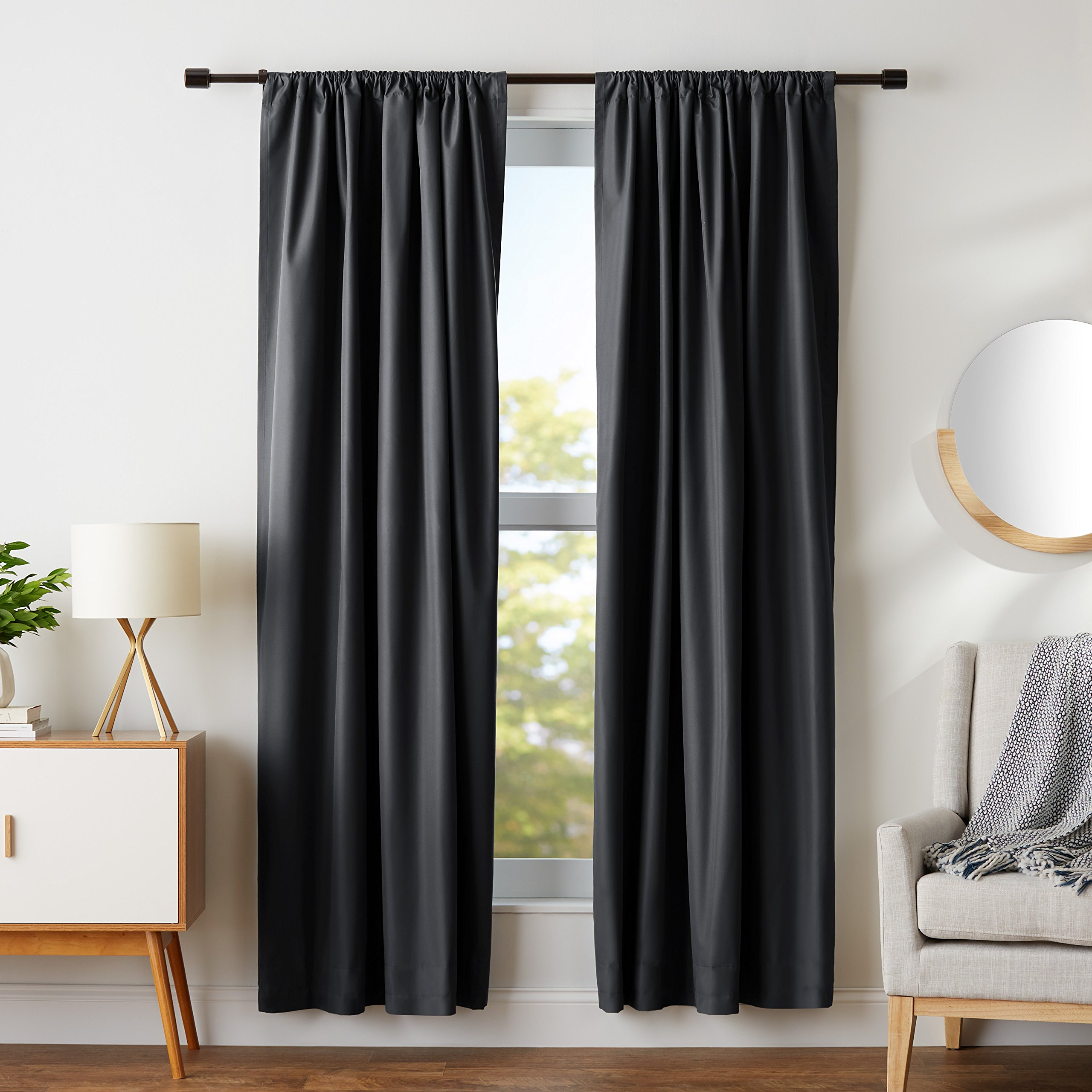 AmazonBasics Blackout Curtain Set - 52'' x 84'', Black